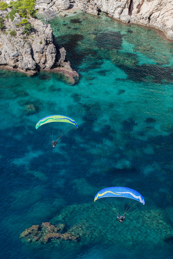 aerial view of the paraglider over the coast line